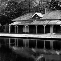 Buy canvas prints of  Queen's Park Boathouse Blackburn by Peter Elliott