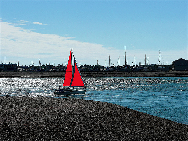 Red Sail Canvas print by Ian Jeffrey