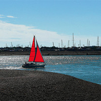 Buy canvas prints of Red Sail by Ian Jeffrey
