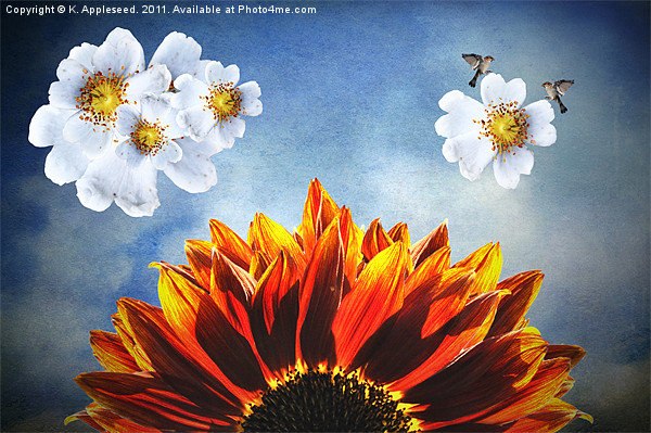 You are my sunshine, (Sunflower Dogrose and Birds) Canvas print by K. Appleseed.