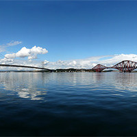Buy canvas prints of Forth road and rail bridges by Tony Bates