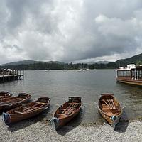 Buy canvas prints of Ambleside boats panorama by Tony Bates