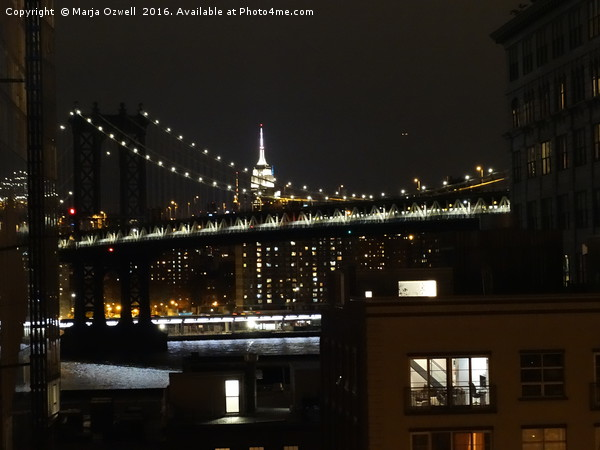Manhattan Bridge and Empire State Building at nigh Framed Mounted Print by Marja Ozwell