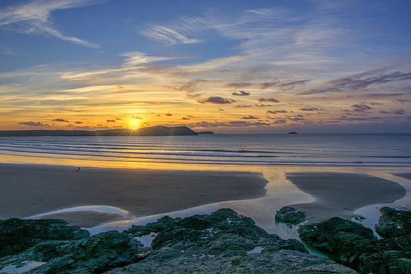 Polzeath Sunset 3 Canvas print by Chris Thaxter