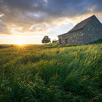Buy canvas prints of Wetton Barn Sunset  by James Grant