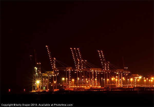 Southampton Docks At Night Canvas print by kelly Draper