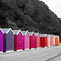 Buy canvas prints of Colourful Beach Huts by kelly Draper