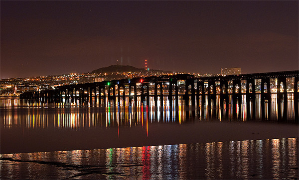 Dundee Tay Bridge at Night Canvas print by Stuart Jack