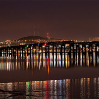 Buy canvas prints of Dundee Tay Bridge at Night by Stuart Jack