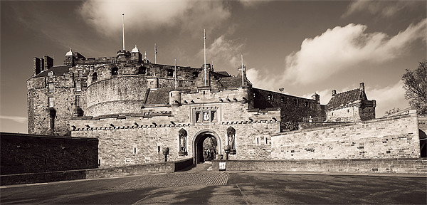 Edinburgh Castle Entrance Sepia 03 Canvas print by Stuart Jack