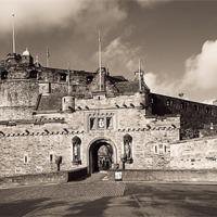 Buy canvas prints of Edinburgh Castle Entrance Sepia 03 by Stuart Jack