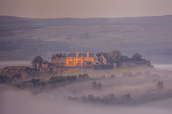 Stirling Castle in the mist Canvas Print by Stuart Jack