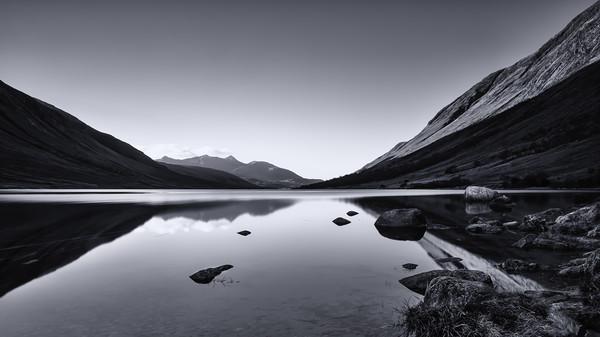 Loch Etive in Mono Canvas print by Stuart Jack