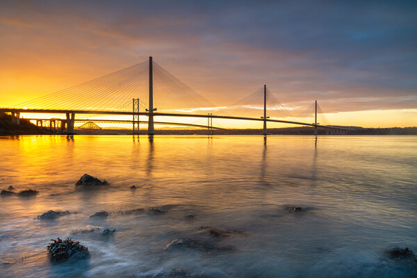 Forth Bridges Sunrise Canvas Print by Stuart Jack