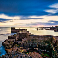 Buy canvas prints of St Monan breakwater at sunset by Stuart Jack