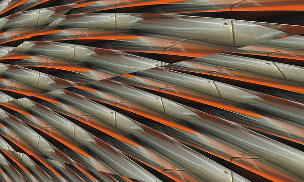 speed of light (orange and chrome) Canvas print by Heather Newton
