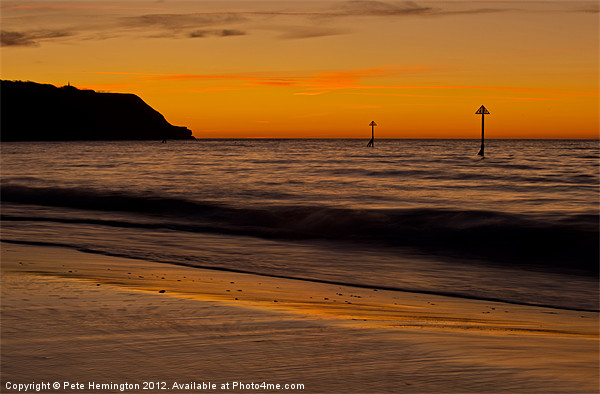 Sunrise Towards Orcombe Point - Exmouth Canvas print by Pete Hemington