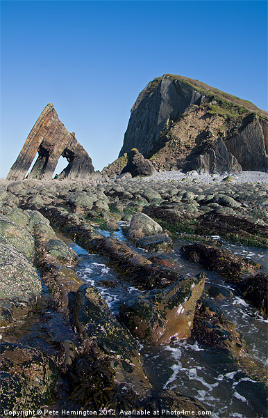 Blackchurch Rock - N Devon Canvas Print by Pete Hemington