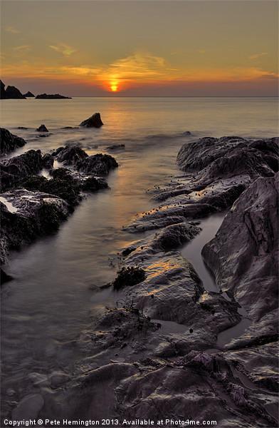 Lee Bay sunset Canvas print by Pete Hemington