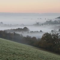 Buy canvas prints of Bradninch in the Mist by Pete Hemington