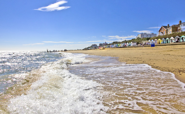 Southwold Sand Sea and Beach Canvas Print by Darren Burroughs