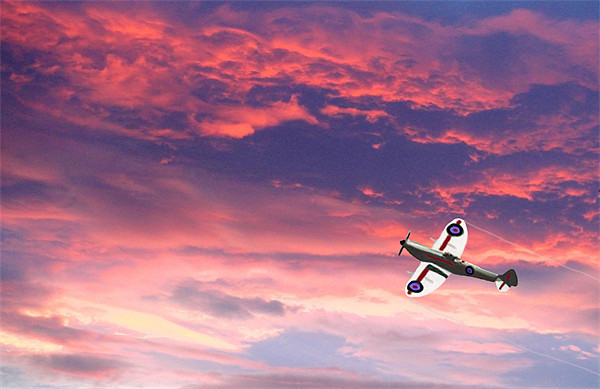 Spitfire Sunset - DigitArt Canvas print by Sandi Cockayne - Dalescapes.