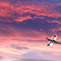 Buy canvas prints of Spitfire Sunset - DigitArt by Sandi Cockayne - Dalescapes.
