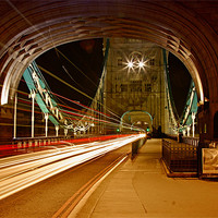 Buy canvas prints of Tower Bridge Light Trails by peter tachauer