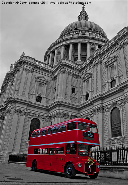 Red London Bus at St. Paul's Canvas print by Dawn O'Connor