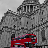 Buy canvas prints of Red London Bus at St. Paul's by Dawn O'Connor