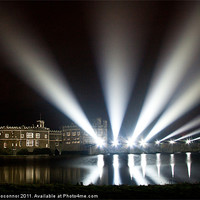 Buy canvas prints of Leeds Castle and Laser Lights by Dawn O'Connor