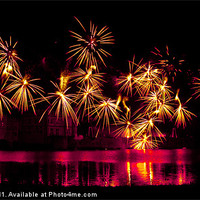 Buy canvas prints of Leeds Castle Fireworks by Dawn O'Connor