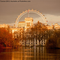 Buy canvas prints of St. James's Park and the London Eye by Dawn O'Connor