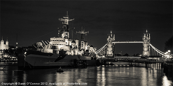 HMS Belfast and Tower Bridge Canvas print by Dawn O'Connor