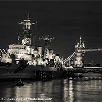 Buy canvas prints of HMS Belfast and Tower Bridge by Dawn O'Connor