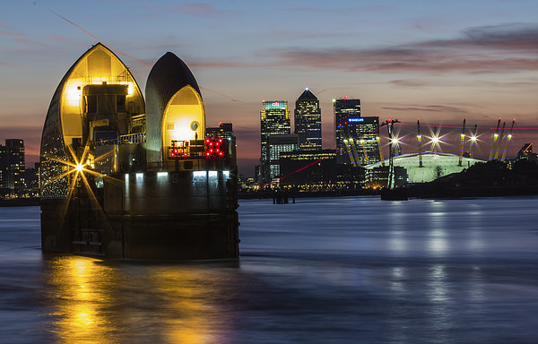 Thames Barrier and Docklands Canvas print by Dawn O'Connor