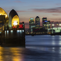 Buy canvas prints of Thames Barrier and Docklands by Dawn O'Connor
