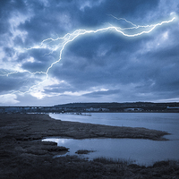 Buy canvas prints of River Medway Lightning by Dawn O'Connor