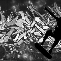 Buy canvas prints of Skateboarder with Graffitti Background by Dawn O'Connor