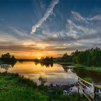 Buy canvas prints of Sunset Knapps Loch by Sam Smith