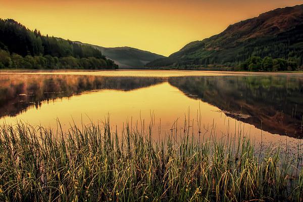 Sunset over Scottish Loch Canvas print by Sam Smith