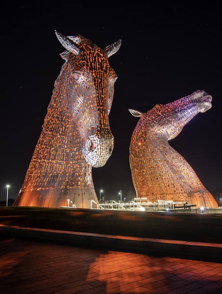 Kelpies at night Canvas print by Sam Smith