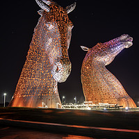Buy canvas prints of Kelpies at night by Sam Smith