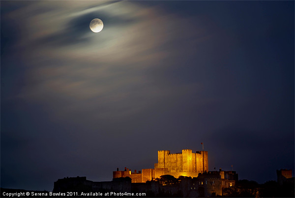 Full Moon over Dover Castle Framed Print by Serena Bowles