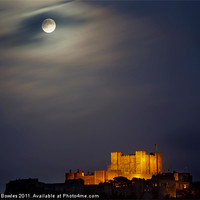 Buy canvas prints of Full Moon over Dover Castle by Serena Bowles