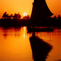 Buy canvas prints of Sunset Felucca on the Nile by Serena Bowles