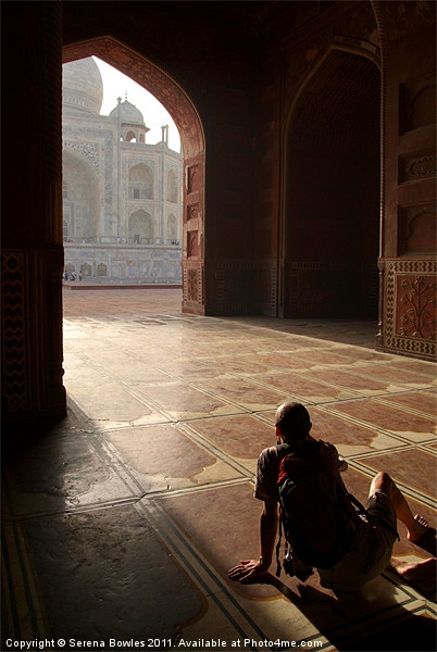 Tourist Photographing Taj Mahal, Agra, India Framed Print by Serena Bowles