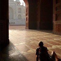Buy canvas prints of Tourist Photographing Taj Mahal, Agra, India by Serena Bowles