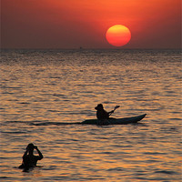 Buy canvas prints of Kayaking at Sunset Palolem, Goa, India by Serena Bowles