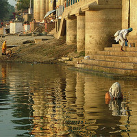 Buy canvas prints of Bathing in the Ganges by Serena Bowles